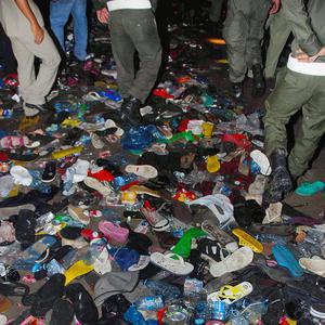 The shoes and belongings of Cambodians who died or were injured in a stampede in Phnom Penh (AP)