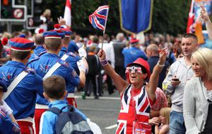 12/7/11 Mandatory Credit Darren Kidd/Presseye.com Orangemen take part in Twelfth of July parades as they make their way to the field at Shaws Bridge, Belfast.The parade makes its way along the Lisburn Rd,