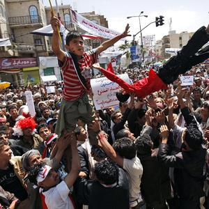 Anti-government protesters demand the resignation of president Ali Abdullah Saleh, in Sanaa, Yemen (AP)