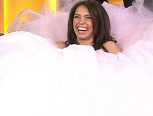 Christine Bleakley wearing one of the dresses featured in the documentary My Big Fat Gypsy Wedding