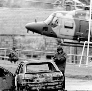 RUC Constable Michael Frederick Leslie Marshall, killed in an IRA ambush in Beleek. Forensics examine Constable Marshall's Sierra 21.10.1989