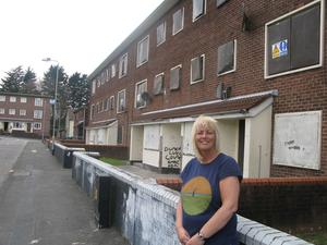 Louise Green, from Redburn Loughview Community Forum, says the flats at West Green in Holywood should be made available to those who are on the Northern Ireland Housing Executive waiting list