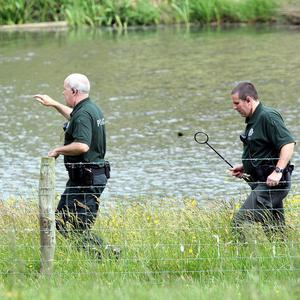 A lake on land owned by Colin Howell, near Castlerock Co. Londonderry, was searched by police