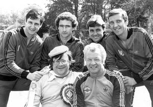 Actor Justin Duff with Billy Bingham and members of his World Cup squad, Jim Platt, Martin O'Neill, Mal Donaghy and Sammy Nelson. 18/05/1982
