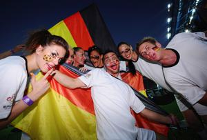 KHARKOV, UKRAINE - JUNE 13:  Germany are given support prior to the UEFA EURO 2012 group B match between Netherlands and Germany at Metalist Stadium on June 13, 2012 in Kharkov, Ukraine.  (Photo by Lars Baron/Bongarts/Getty Images)