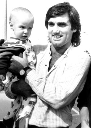 George Best with his baby son Calum.12/09/1981