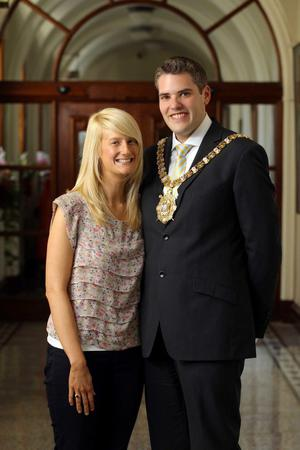 New Lord Mayor of Belfast DUP Councillor Gavin Robinson with his wife Lindsay at Belfast City Hall