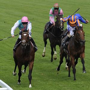 Frankel holds on as Zoffany (right) charges
