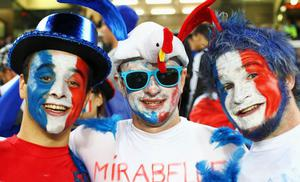 AUCKLAND, NEW ZEALAND - SEPTEMBER 24:  France fans pose prior to the IRB 2011 Rugby World Cup Pool A match between New Zealand and France at Eden Park on September 24, 2011 in Auckland, New Zealand.  (Photo by Phil Walter/Getty Images)