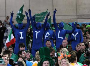 Italy fans in the stands during the IRB Rugby World Cup match at the Otago Stadium, Dunedin, New Zealand. PRESS ASSOCIATION Photo. Picture date: Sunday October 2, 2011. See PA story RUGBYU Ireland. Photo credit should read: Lynne Cameron/PA Wire. RESTRICTIONS Use subject to restrictions. Editorial reporting purposes only; no images to be used to simulate a moving image. Commercial including Book use only with prior written approval. Call +44 (0) 1158 447447 or see www.pressassociation.com/images/restrictions.