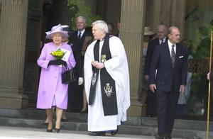 The Queen and Prince Phillip leave St Annes catherdral with Dean Houston McKelvey after the Jubilee Service this morning.  May 2002Picture by Mervyn Dowling