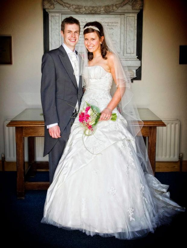 """Joanne and Andrew Wills after their marriage in Dromara <p><b>To send us your Wedding Pics <a  href=""""http://www.belfasttelegraph.co.uk/usersubmission/the-belfast-telegraph-wants-to-hear-from-you-13927437.html"""" title=""""Click here to send your pics to Belfast Telegraph"""">Click here</a> </a></p></b>"""