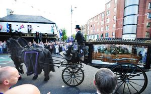 The funeral of Alex Higgins.  St Anne's Cathedral, Belfast. August 2010
