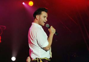 Boyzone's Stephen Gately performing on stage at the Big Gig Weekend at the Bath & West Showground, Shepton Mallet, Somerset.