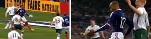 France captain  Thierry Henry controls the ball with his hand during the build up to the controversial goal in Paris