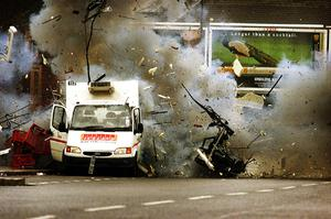 Thomas McMullan's 2001 shot of a British Army robot detonating a van bomb.