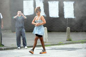 Rihanna pictured filming her new video in the New Lodge in Belfast