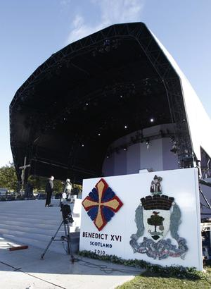 Preparations continue at Bellahouston Park, Glasgow, where Pope Benedict XVI will preside over an open-air mass on the first day of his four-day visit to the United Kingdom