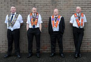 Orangemen gather at Carlise Circus, the starting point of the annual Belfast 12th of July Orange march, the largest demonstration in the province.