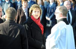 Irish president Mary McAleese attends the funeral of Michaele McAreavey.