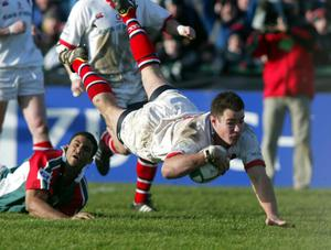 Ulster legend Andy Ward goes over to score a try against Leicester when the clubs last met in the Heineken Cup seven years ago