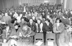 Parents pack the assembly hall in Dunlambert Secondary School as they listen to speakers who hope to keep the school opened, 1982.