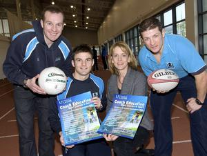 (L-r) James McIlroy, Conor Marlin, Marie Murphy, and Chris Galway help launch the Coach Education Short Courses programme