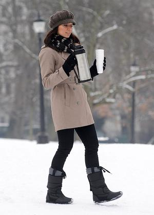 Christine Bleakley from BBC's The One Show enjoying the snow on Primrose Hill in north London