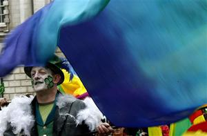 A man takes part in the St Patrick's day parade in Belfast, Northern Ireland, Tuesday, March, 17, 2009. (AP Photo/Peter Morrison)