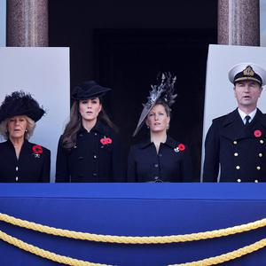 Members of the Royal Family watch over the Remembrance Service at the Cenotaph