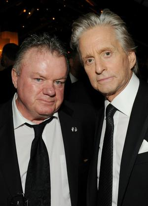 BEVERLY HILLS, CA - JANUARY 16:  Actors Jack McGee (L) and Michael Douglas attend Relativity Media and The Weinstein Company's 2011 Golden Globe Awards After Party presented by Marie Claire held at The Beverly Hilton hotel on January 16, 2011 in Beverly Hills, California.  (Photo by Frazer Harrison/Getty Images for Relativity Media)