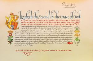 """LONDON - APRIL 21:  A detail of the 'Instrument of Consent', which is the Queen's historic formal consent to Prince William's forthcoming marriage to Catherine Middleton, is displayed at the Crown Office at the House of Lords on April 21, 2011 in London, England. Under the Great Seal of the Realm, Queen Elizabeth signed an elaborate notice of approval which proclaimed, in transcribed calligraphy, consent to the union of """"Our Most Dearly Beloved Grandson Prince William Arthur Philip Louis of Wales, K.G. and Our Trusty and Well-beloved Catherine Elizabeth Middleton"""".  (Photo by Clive Gee/WPA Pool/Getty Images)"""