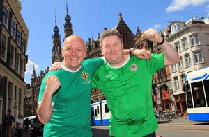 Northern Ireland fans Stephen Snoddy and Iain McKeen from Larne