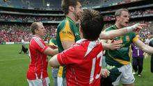 Mark Ward of Meath is struck in the face