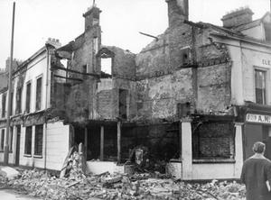 Riots : Belfast. August 1969.  All that remains of a public house which was burnt out at Falls Road, Belfast, during the rioting.  (19/8/69)