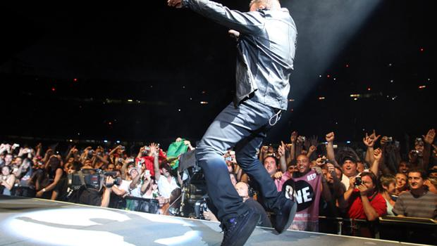 Bono of U2 onstage on the first night of their 360 tour held at Camp Nou