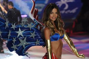 NEW YORK, NY - NOVEMBER 07:  Victoria's Secret Angel Lily Aldridge walks the runway during the Victoria's Secret 2012 Fashion Show on November 7, 2012 in New York City.  (Photo by Bryan Bedder/Getty Images for SWAROVSKI ELEMENTS)