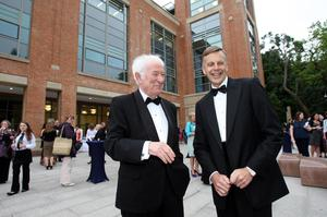 Nobel laureate Seamus Heaney  (left), with The Vice Chancellor of Queen's Professor Peter Gregson,  arrives to open the new £50m McClay Library at Queen's University