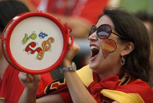 A Spain's supporter cheers prior to the Euro 2012 soccer championship Group C match between Spain and Italy in Gdansk, Poland, Sunday, June 10, 2012