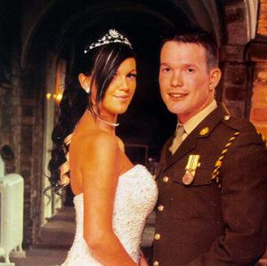 Private James Austin seen with his wife Katie on their wedding day