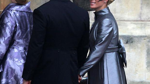 Zara Phillips and Mike Tindall (centre) arrive at Westminster Abbey, London, ahead of the royal wedding. PRESS ASSOCIATION Photo. Picture date: Friday April 29, 2011. See PA story WEDDING Guests. Photo credit should read: Gareth Fuller/PA Wire