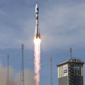 A Soyuz rocket lifts off from Europe's space base of Kourou, French Guiana (AP/ESA, CNES, Arianespace, JM Guillon)