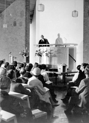 Chapel of Unity dedication at Methody. Rev. Gerald G. Myles, president of the Methodist Church in Ireland performing the dedication of the new Chapel of Unity at Methody, 1968.