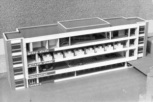 A model of the Methodist College proposed sixth form centre, 1968.