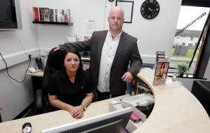 Andy Waring and his wife Carrie pictured at their beauty saloon business Carrie On With Colour on O'Neill Road in Newtownabbey.
