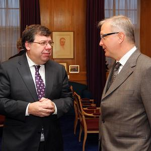 Brian Cowen and European Economic and Monetary Affairs Commissioner Olli Rehn met earlier this month