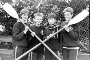 Members of the Methodist College rowing team, who are taking part in the girls' fours at the Junior National Trials in Dublin. They are (from left) Jane Cooper, Joanne McGrath, Jill Brown (cox) and Jennifer Woods. Not available for the picture because of illness was Susan Budd, 1987.
