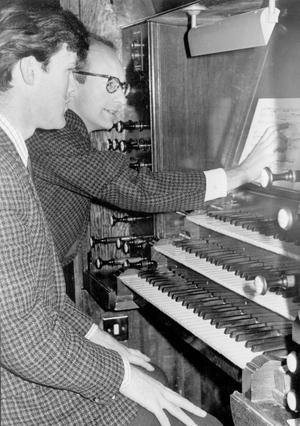 Methodist College Belfast- Mr. Hunter and Mr. McCay, Director of Music, at the new organ in the Chapel of Unity, 1968.