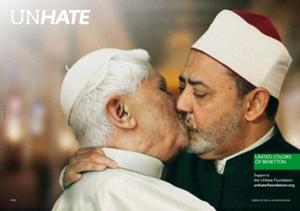 Controversial: Pope Benedict 'kissing' Egyptian cleric Ahmed el Tayeb in the clothing firm's ad