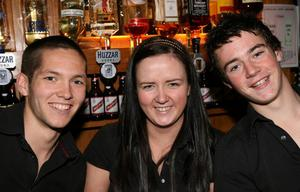 James McGrath, Aisling Fee and Barry McGovern enjoying the atmosphere in Enniskillen.